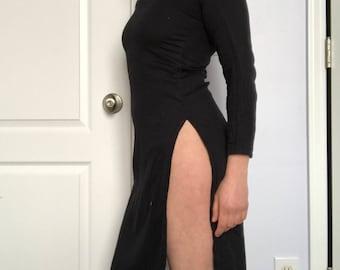 Vintage Blsck High Slit Maxi Dress
