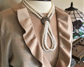 Vintage Two Strand Faux Pearl Necklace Gold Tone Rhinestone Pendant Pearl Tassel