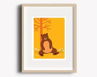 Bear Print - Home Decor - Woodland Nursery - Bear Art Print - Wall Art