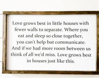 Handcrafted Wood Sign - Love Grows Best