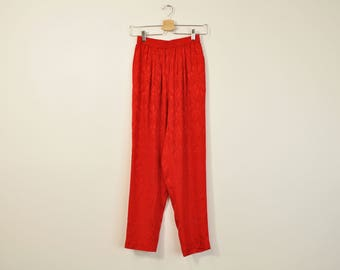 Red Silk Pants, Vintage Silk Pants, Silk Leisure Pants, Vibrant 90s Minimal Pants, Loose Tapered Leg Pants, Womens 90s Pants X-Small XS