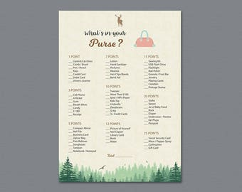 Woodsy Whats in your Purse Game Printable, Bridal Shower, Trees, Bachelorette Party, Wedding Shower Games, Purse Raid, Purse Hunt, A010