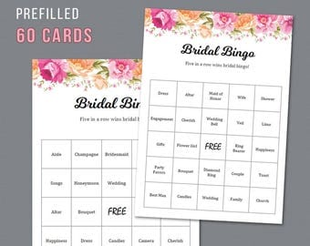 Floral Bridal Shower Bingo, Unique Prefilled 60 Cards Printable, Vintage Flowers, Bridal Shower Games, Bachelorette Bingo, Wedding,  A017