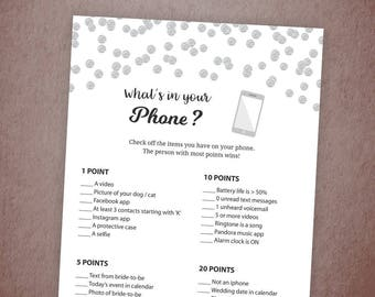 Whats in Your Phone Game Printable, Silver Bridal Shower, Baby Shower, Cell Phone Game, What's on Your Phone Game, Instant Download, A003
