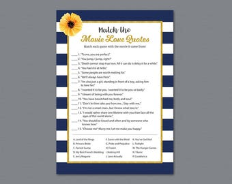 Kate Spade Match the Disney Love Songs Game, Bridal Shower Games, Gold Navy Blue Wedding Shower, Instant Download, Love Songs Match, A027
