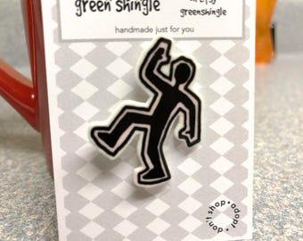 MFM Chalk Outline Guy brooch lapel pin