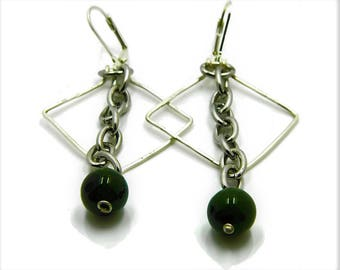 Jade Triangle and Chain Earrings| Green Jade Earrings| Jade Dangle Earrings| Long Jade Earrings|