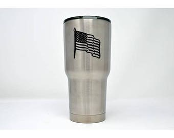 USA Waving Flag - Laser Engraved Tumbler - LET-009