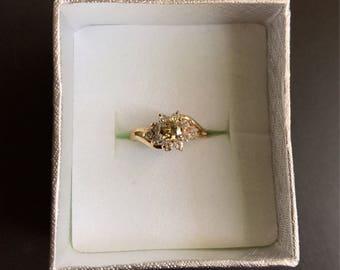 Genuine Moissanite and Diamond Cluster Flower Ring
