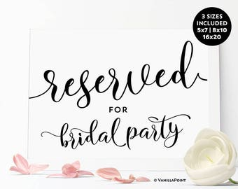 Reserved For Bridal Party Sign, Bridal Shower Printable Signs, Bridal Party Decorations, Bachelorette Party Decorations, Reserved Sign DIY