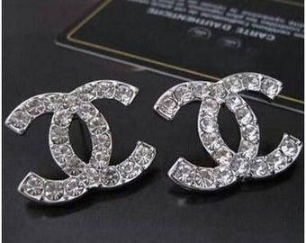 Chanel Silver Stud Diamond Earrings