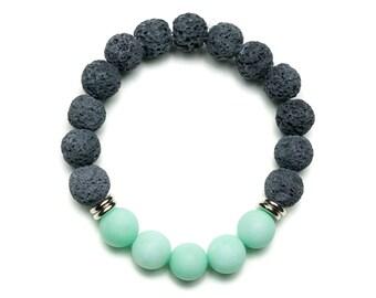 Grey Lava Bracelet, Essential Oil Diffuser Bracelet, Turquoise Diffuser Bracelet, Bridesmaids Gifts Jewelry, Lava Bead Bracelet for Women