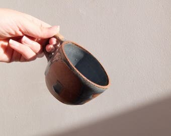 Handmade Thrown Glazed Stoneware Mug with Drippy Glaze
