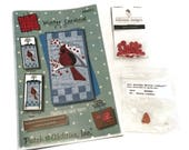 Winter Cardinal Wall Hanging Pattern with Button Pack, Christmas Wall Hanging Quilt Pattern, Applique Quilt Pattern, Gift for Quilter