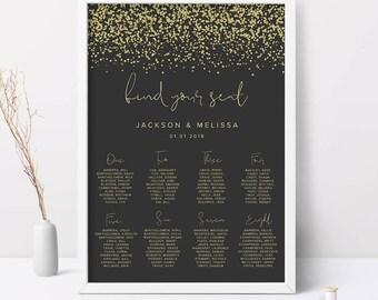 Printable Wedding Seating Chart, Glitter Wedding Seating Chart, Wedding Reception Seating Chart, Seating Chart Wedding, Printable Wedding