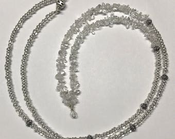 Silver and clear chip bead lanyard/necklace