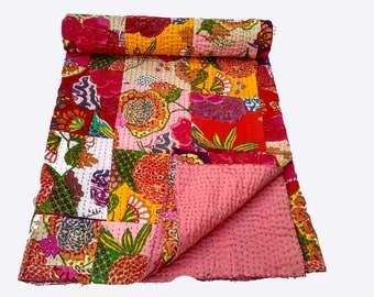 Patchwork Kantha with handstich Blanket,Baby Quilt,embroidered kantha quilt,throw,Bed cover Bedspread Queen size,Twin size,King size quilt