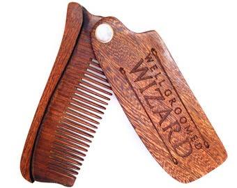 Beard Comb, Sandalwood Folding Beard, Moustache & Hair Comb, the perfect Pocket Sized Gift