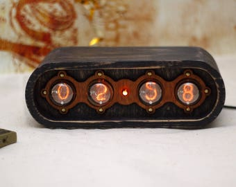 IN-1 Nixie Tube Clock - Nixie Clock with adapter and wood enclosure