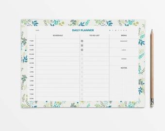 Floral planner, Printable Daily Planner, desk planner printable, desk planner pad, student planner, daily planner pad, daily schedule