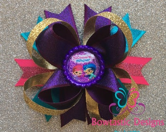 Shimmer and Shine  Inspired Hair Bow, Shimmer and Shine Hair Bow, Shimmer and Shine, Shimmer and Shine Bows