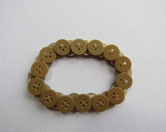 Light brown upcycled button bracelet