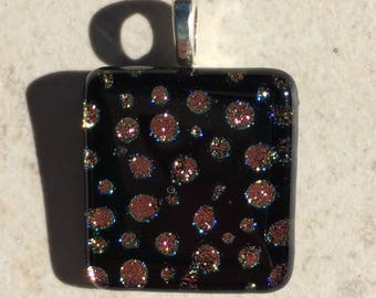 Dichroic Fused Glass Pendant - Pink and Yellow Dichroic Dot Pattern on Black Glass Pendant