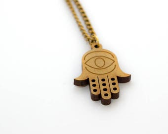 Wooden  necklace hand-eye  - Wooden jewelry