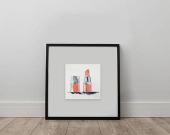 Rouge à lèvre, Lipstick, Illustration, Watercolor, Aquarelle, Original Art, Digital Art, Art Print
