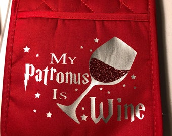 Harry Potter themed Pot Holder, Customized Pot Holder, Wine Oven Mitt