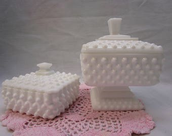 2 Hobnail Milk Glass Candy Dishes Vintage Hobnail Compote Candy Dish