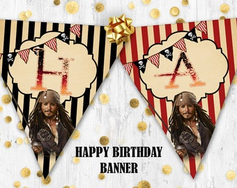 Pirates of the Caribbean birthday banner Jack Sparrow happy birthday banner