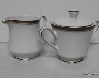 Fashion Royale Creamer & Sugar Bowl Silver Trim