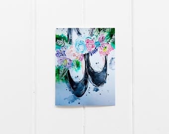 Ballet Slippers/ Ballet Card Set/ Ballet Print/Floral Notecard Set/Ballet Gift/ Set of 6 Cards/ Blank Greeting Cards/ Floral Greeting Cards