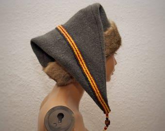 CAP, Viking, RUS, Gr. 62, wool, linen, comb trims, hand-woven, glass beads, amber, Kanin, fur
