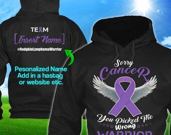 Personalized Hodgkin's lymphoma Cancer Awareness Hoodie Violet Ribbon Warrior Men Women Kid Youth Custom Hodgkins Pullover Gift Winter Cloth