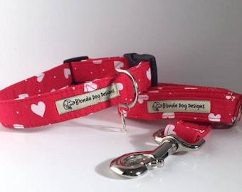 Loveheart Dog Collar, & Loveheart Dog Lead, Limited Edition, Lush Love Heart,  Dog Collar and Lead UK.