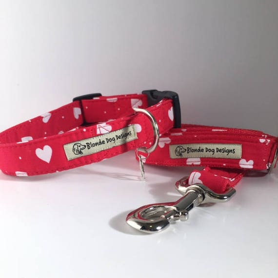Loveheart Dog Collar, & Loveheart Dog Lead, Limited Edition, Lush Love Heart,  Dog Collar and Lead UK.