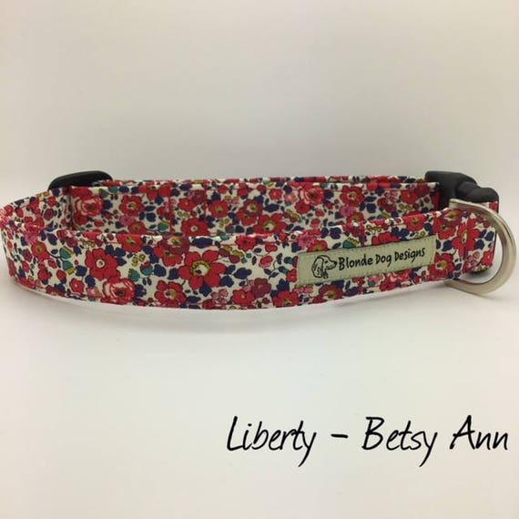 Liberty Dog Collar, or, Liberty Dog Lead, Betsy Ann Red, Floral Dog Collar, Floral Dog Lead, Dog Collar UK