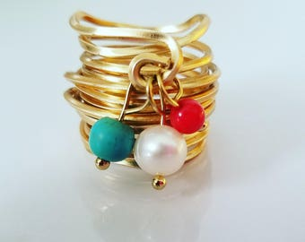 Woman Ring / Cultured Pearl Coral and Turquoise Ring / Woman Gift Ring / Anniversary Gift ring / Gift For Her Ring / Gift gold ring