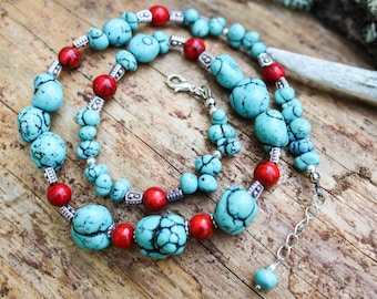 Blue turquoise necklace, Gemstone necklace, Red coral with turquoise necklace, December birthstone necklace, Bride of honor jewelry gift
