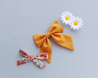 Mustard Sailor Bow | Girls Sailor Bow, Hair Clip, Hair Bow, Toddler Bows, Hair Clips, Girl Hair Bow, Hair Accessories