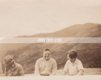 Antique Photograph . Group of Friends . Mountain Photo . Landscape . Digital Download . High Resolution Scan