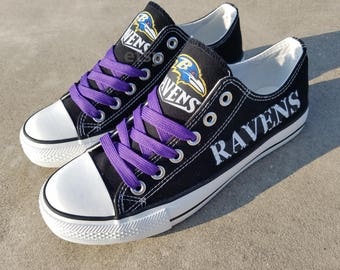 Baltimore Ravens shoes Ravens sneakers Ravens tennis shoes Holiday gifts Damaged font Custom shoes