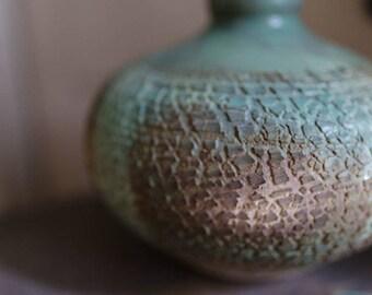 Wheel Thrown Textured Weathered Bronze Green Vase