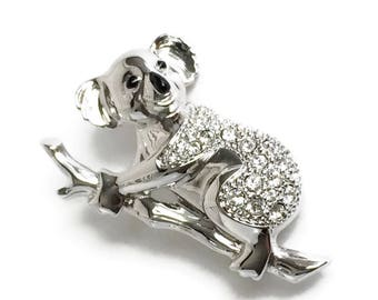 Swarovski Crystal Koala Bear Brooch, Figural Brooch, Animal Brooch, Koala Bear Pin, Statement Brooch, Bear Brooch, Vintage Swarovski