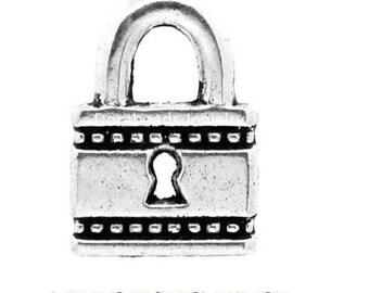 set of 10 + 5 charms minimalist padlock key lock Silver (D27)