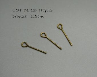 SET of 20 x 5 (self 100 stems) eye 1.5 cm bronze 15 mm (F16)