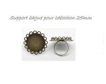 SET of 3 medium ring ring round 25mm bronze (W34)