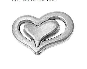 Set of 10 beads (F41) silver fancy heart
